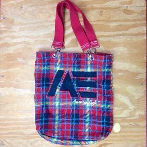 American Eagle Red Plaid Tote Bag